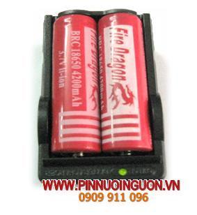 Bộ sạc pin Lithium Li-Ion 2 rảnh Digital Smart kèm sẳn 2 pin sạc DragonFire BRC 18650 3.7V | hết hàng