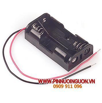 Khay chứa  2 pin AA - có dây zắc / hàng có sẳn