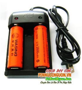 Bộ sạc pin Li-Ion HG-1206LI-2WASING2800, kèm sẳn 2 pin sạc Li-Ion Wasing 18650-2800mAh chính hãng | hàng có sẳn - Bảo hành cả bộ 3 tháng