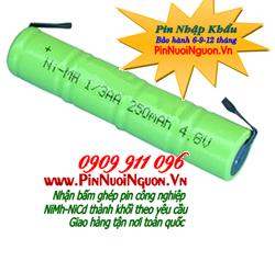 Pin sạc 4,8V 1/3AA250mAh, Pin sạc công nghiệp NiMh-NiCd 4,8V 1/3AA250mAh chính hãng | hàng có sẳn