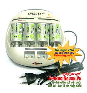 Bộ sạc pin D Ansmann Energy 8Plus kèm sẳn 4 pin sạc Ansmann D5000mAh 1,2v chính hãng | Hàng có sẳn