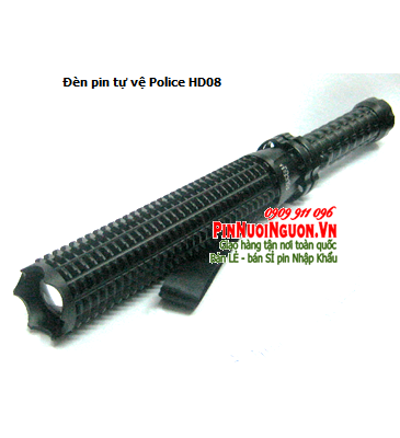Đèn pin tự vệ siêu sáng Police USA HD08 với thấu kính lồi chính hãng | Bảo hàng 6 tháng -HẾT HÀNG