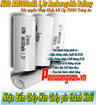 Pin sạc công nghiệp NiCd 1,2v AA1100mAh - Pin cell công nghiệp đầu bằng NiCd 1,2v AA1100mAh| có sẳn hàng