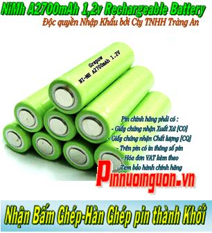 Pin sạc công nghiệp NiMh 1,2v A2700mAh - Pin cell công nghiệp đầu bằng NiMh 1,2v A2700mAh | có sẳn hàng