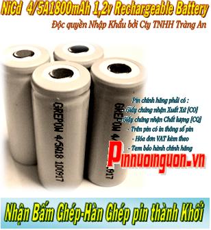 Pin sạc 1,2v 4/5A1800mAh NiCd - Pin sạc công nghiệp NiCd 1,2v 4/5A1800mAh - Pin cell công nghiệp NiCd 1,2v 4/5A1800mAh| có sẳn hàng