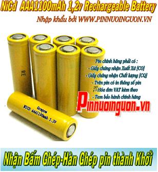 Pin sạc công nghiệp 1,2v NiCd AAA1100mAh - Pin cell công nghiệp đầu bằng 1,2v NiCd AAA1100mAh| có sẳn hàng