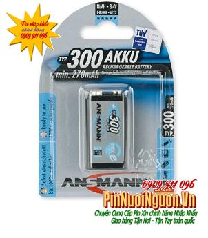 Pin sạc 9V Ansmann MaxE E-Block 6F22 |NIMH-9V-300mAh|  chính hãng Ansmann Đức/ hàng có sẳn