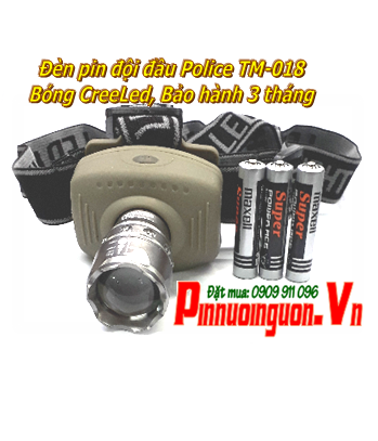 Đèn pin đội đầu siêu sáng Police TM-018 bóng CreeLed chiếu xa khoảng 200m Made in Thailand |TẠM HẾT HÀNG
