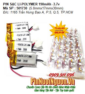 Pin sạc 3.7v Li-polymer LP-501730 (5.0mmx17mmx30mm) 190mAh; Pin tai nghe bluetooth 501730 có mạch sẳn| Có sẳn hàng