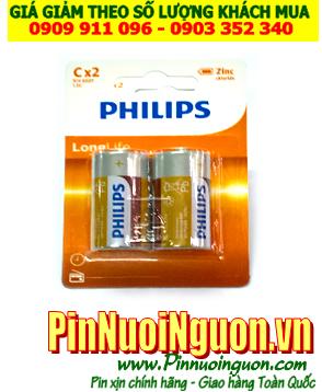 Pin Philips R14L2B/97; Pin trung C 1.5v Philips R14L2B/97 Liên doanh China  Vỉ 2viên|