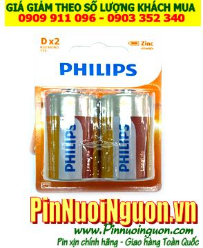 Pin Philips R20L2B/97; Pin R20L2B/97; Pin đại D 1.5v Philips R20L2B/97 Heavy Duty _Vỉ 2viên| HẾT HÀNG
