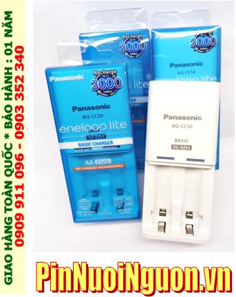 Panasonic BQ-CC50; Máy sạc pin Panasonic Eneloop BQ-CC50 _02 khe sạc _Sạc 1-2 Pin AA-AAA (Không kèm Pin)