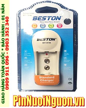 Beston BST-C814; Máy sạc pin 9v Beston BST-C814 _02 khe sạc _Sạc 1-2 pin AA-AAA và 9v, sạc chậm canh giờ