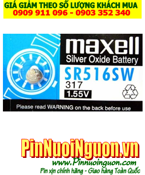 Pin SR516SW _Pin 317; Pin Maxell SR516SW 317 silver oxide 1.55v _Made in Japan