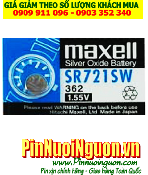 Pin SR721SW _Pin 362; Pin Maxell SR721SW 362 silver oxide 1.55V _Made in Japan