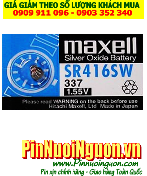 Pin SR416SW _Pin 337; Pin Maxell SR416SW 337 silver oxide 1.55V _Made in Japan