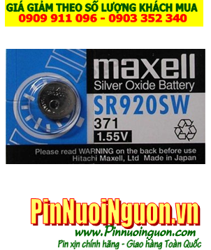 Pin SR920SW  _Pin 371; Pin Maxell SR920SW 371 silver oxide 1.55v _Cells in Japan