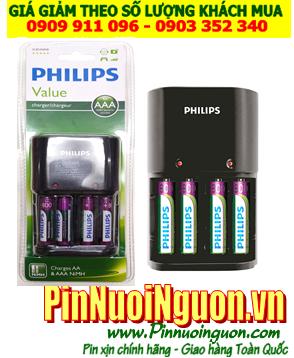 Bộ sạc pin AAA 1.2v Philisp SCB1450NB kèm sẳn 4 pin sạc Philips AAA800mAh 1.2v