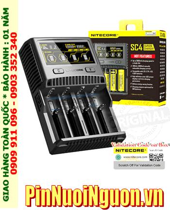 Nitecore SC4; Máy sạc pin Nitecore SC4 _màn hình LCD_đo được dung lượng pin_sạc được pin Lithium_sạc pin NiMh với tất cả các size Pin| CÒN HÀNG