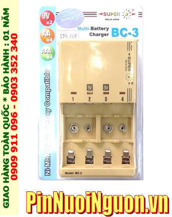 Super BC-3; Máy sạc pin Super BC-3 _04 khe sạc _Sạc 2-4 pin AA, AAA và 9v các hãng |HÀNG CÓ SẲN
