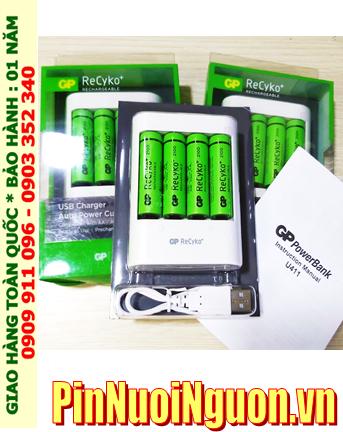 Bộ sạc pin AA 1.2v GP ReCyKo usb charger GPU411USB210E-2GB4 _ Bộ sạc USB kèm 4 pin AA 2000mAh pin màu xanh |HÀNG CÓ SẲN