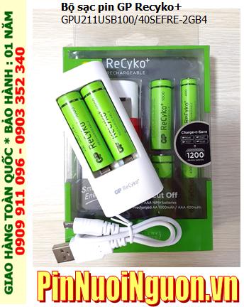 Bộ sạc pin AA, AAA GPU211USB100/40SEFRE-2GB4 _cổng sạc USB _kèm sẳn 4 pin sạc GP (2 AA1000mAh và 2 AAA400mAh)