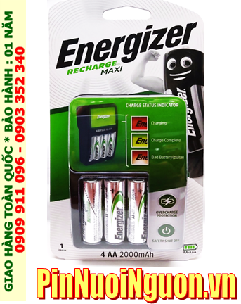 Bộ sạc pin AA Energizer CHVCM4 (4-AA2000mAh), kèm 4 pin sạc Energizer AA200mAh 1.2v _Mẫu mới