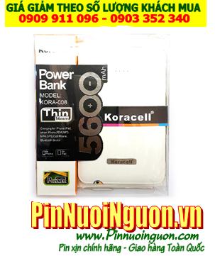 Pin sạc dự phòng KORACELL KORA-008 với 5600mAh (vỏ màu trắng) chính hãng| Bảo hành 1 năm
