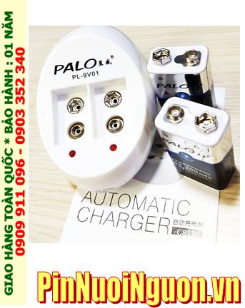 Bộ sạc pin 9v vuông PALO PL-9V01 (C818) Automatic Charger, kèm sẳn 2 pin sạc PALO 9v300mAh