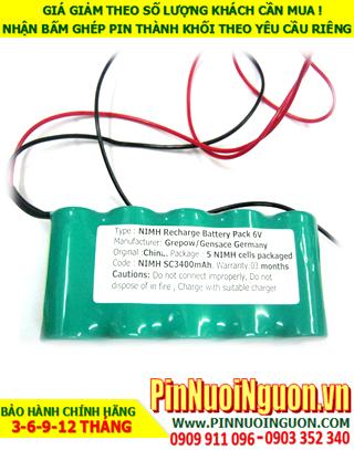 Pin đèn Exit thoát hiểm 6v SC3400mAh; Pin đèn khẩn cấp 6v SC3400mAh; Pin đèn sự cố 6v SC3400mAh; Pin sạc NiMh 6v SC3400mAh