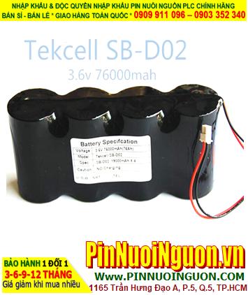 Pin Tekcell SB-D02; Pin nuôi nguồn PLC Tekcell SB-D02 (4 viên ghép lại với nhau) lithium 3.6v 7600mAh chính hãng