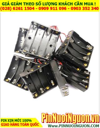 Khay đế chứa 4 pin AA - có dây zắc đỏ đen âm dương sẳn| CÒN HÀNG