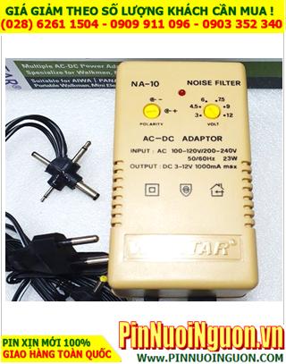 Adaptor NA-10 Multi AC-DC Power - LED Indication (Đầu ra điện áp DC 1 chiều 3V, 4.5V, 6V, 9V, 12V _Đầu vào điện áp AC 100V-60Hz / 220V-50Hz)