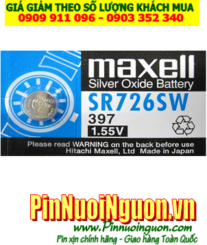 Pin SR726SW _Pin 397; Pin Maxell SR726SW 397 silver oxide 1.55v _Made in Japan
