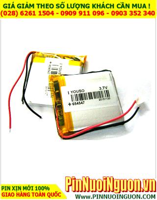 Pin sạc 3,7v Lithium Li-Polymer 654547-1370mAh (6.5mmx45mmx47mm) | TẠM HẾT HÀNG