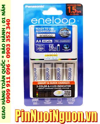 Bộ sạc pin AAA Panasonic Eneloop BQ-CC55E, K-KJ55MCC40T _Sạc nhanh 1.5giờ kèm 4 pin sạc Eneloop AAA750mAh 1.2v