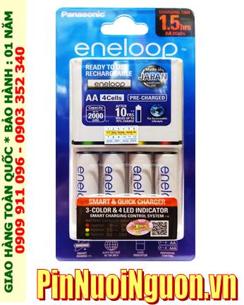 Bộ sạc pin AA _Sạc nhanh 1.5giờ Panasonic Eneloop BQ-CC55E, K-KJ55MCC40T kèm 4 pin Eneloop AA1900mAh 1.2v