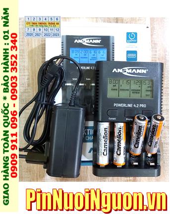 Ansman Powerline 4.2Pro _ Bộ sạc pin Powerline 4.2Pro kèm 4 pin sạc Camelion NH-AA2700BP2 1.2v