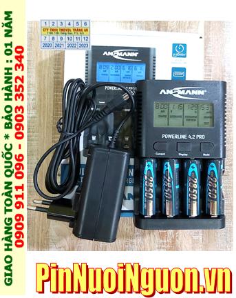 Bộ sạc pin Powerline 4.2Pro _màn hình LCD _cổng USB _đo dung lượng Pin _ kèm 4 pin sạc Ansman AA2850mAh 1.2v