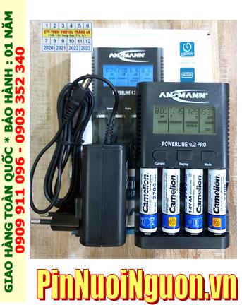 Bộ sạc pin Powerline 4.2Pro _cổng USB _màn hình LCD _đo dung lượng Pin _kèm 4 pin sạc Camelion NH-AA2700LBP2 1.2v lockbox