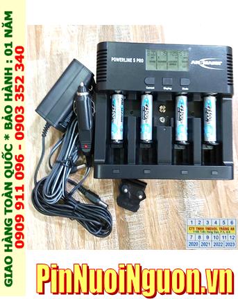 Bộ sạc pin Powerline 5Pro _màn hình LCD _cổng USB _đo dung lượng Pin _ kèm 4 pin sạc Ansman MaxE AA2500mAh 1.2v