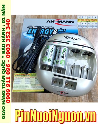 Energy 8Plus _Bộ sạc pin Powerline 5Pro kèm 2 pin sạc D Ansman D5000mAh 1.2v