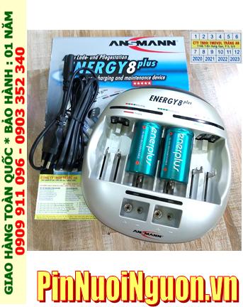 Energy 8Plus _Bộ sạc pin Powerline 5Pro kèm 2 pin sạc D EnerPlus D9000mAh 1.2v