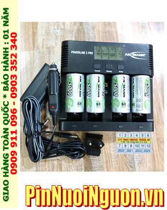 Powerline 5Pro _Bộ sạc Pin Powerline 5Pro kèm 4 pin sạc D Ansman D5000mAh 1.2v