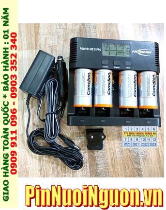 Powerline 5Pro _Bộ sạc Pin Powerline 5Pro kèm 4 pin sạc D Camelion NH-D10000BP2 (D10 000mAh 1.2v)