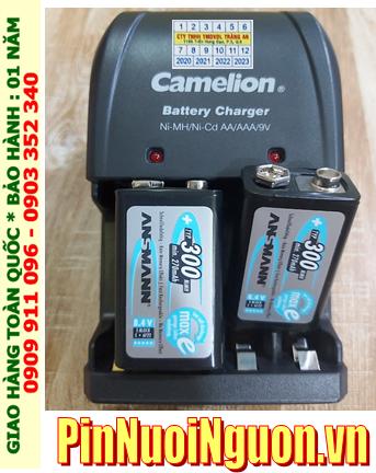 Camelion BC-0904SM _Bộ sạc pin 9v Camelion BC-0904SM kèm 2 pin sạc 9v Ansman E300 (9v 300mAh)
