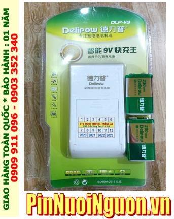 Bộ sạc pin 9V Delipow DLP-K9 kèm sẳn 2 pin sạc Delipow 9v230mAh; Bộ sạc pin vuông 9v
