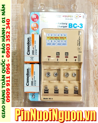 Super BC-3 _Bộ sạc pin 9v Super BC-3 kèm sẳn 2 pin sạc 9v Camelion NH-9v200BP1 (9v 200mAh) Vỏ màu CAM