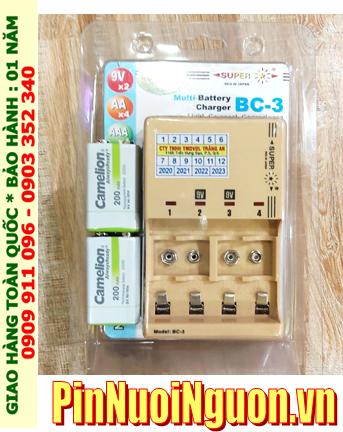 Super BC-3 _Bộ sạc pin 9v Super BC-3 kèm sẳn 2 pin sạc 9v Camelion NH-9v200ARBP1 (9v 200mAh) Vỏ màu trắng