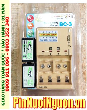 Super BC-3 _Bộ sạc pin Super BC-3 kèm 2 pin sạc 9v Ansman MaxE E200 (9v 200mAh) chính hãng